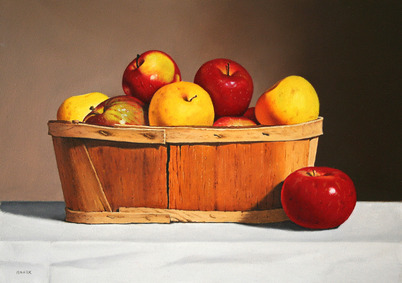 """Red and Gold Delicious"", 5""x7"", oil on panel, Robert K. Roark"